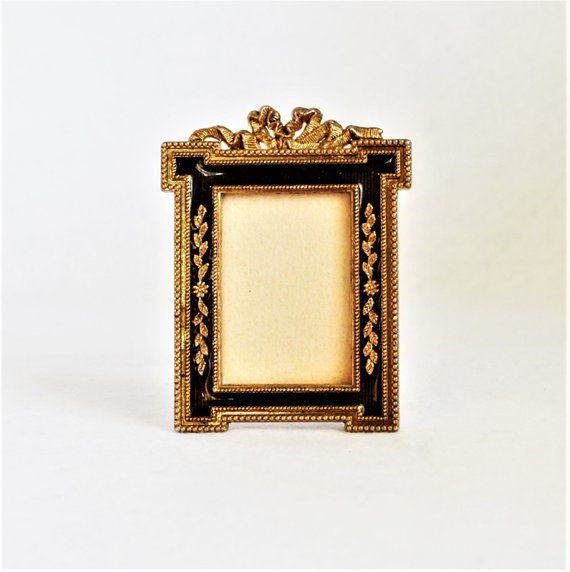 Small Vintage Rococo Style Gold Black Picture Frame Antique Gold