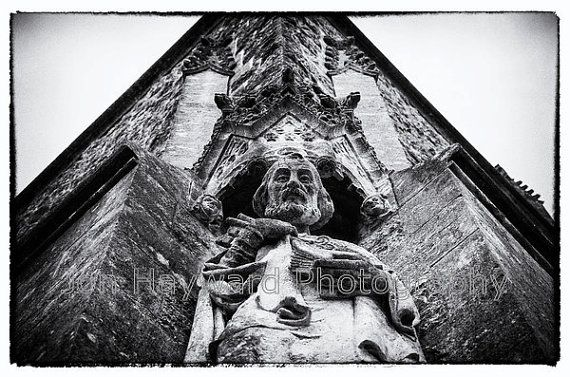 A beautiful, haunting black and white image of church architectural detail.  Printed on premium quality heavyweight 100% cotton rag fine art
