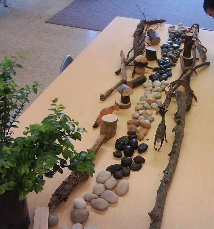 Sticks and stones can provide unlimited opportunities for classifying, sorting, making patterns, counting and just being creative!