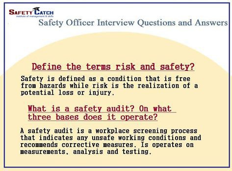 #Safety Officer #Interview #Question and Answer from Safety Catch Institute