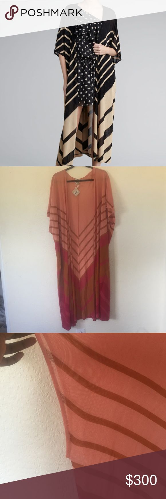 BNWT HAUTE HIPPIE SILK LONG KIMONO CARDIGAN M L Beautiful long silk kimono cardigan by Haute Hippie. This is the same one worn by kardashians but in the fuchsia tan combo. Size medium large. BRAND NEW WITH TAGS RETAILS FOR $595 Haute Hippie Tops