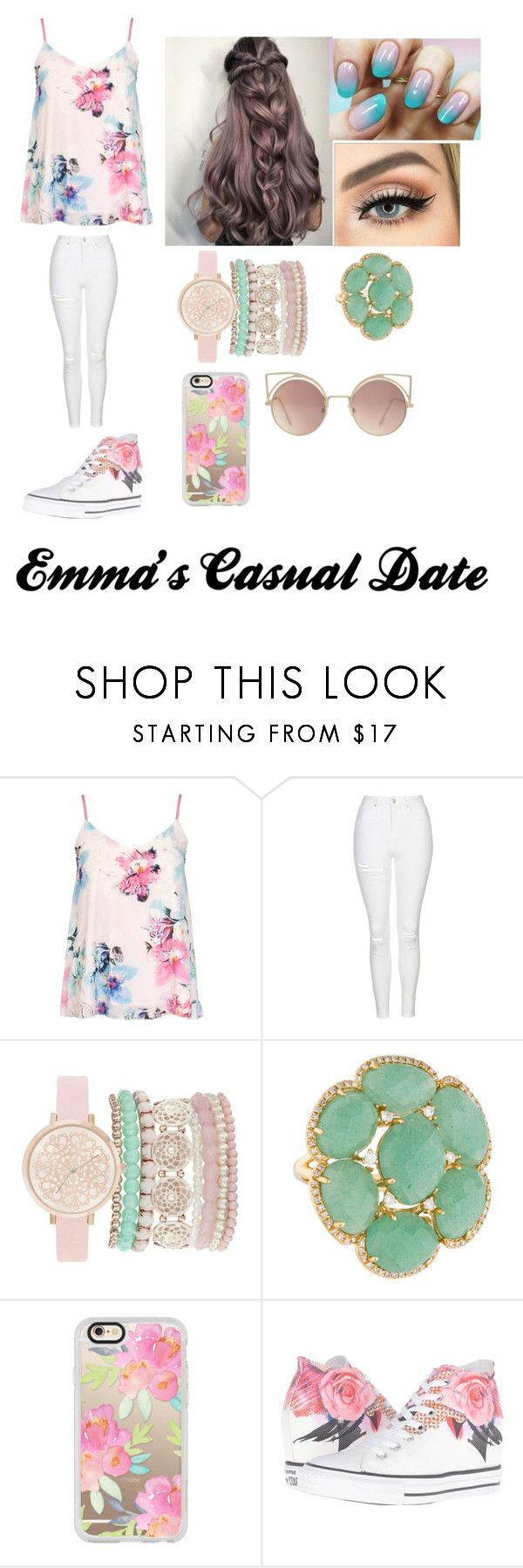 """""""Emma's Casual Date Outfit"""" by abschaffer on Polyvore featuring Dorothy Perkins, Topshop, Jessica Carlyle, Casetify, Converse and MANGO"""