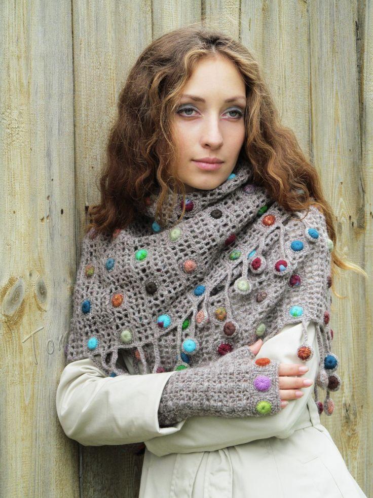 """Autumn drops"" (crochet set - crochet cowl & mitts - crochet drops - fingerless gloves - crochet lace mittens - crochet scarf cowl)"