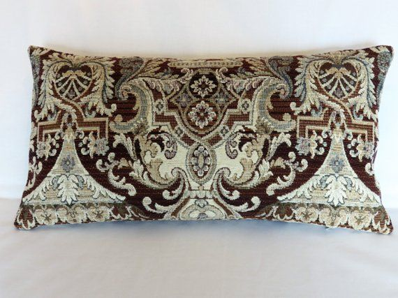 Brown Blue Cream Chenille Pillow Cover 11x21 Lumbar Textured Medallion Pattern Soft And Heavy Fabric Decor Bed Pillows Pillow Covers
