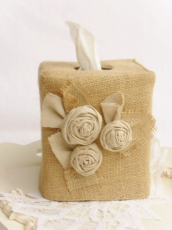 Linen rose burlap tissue box cover by headtotoe2009 on Etsy, $18.00