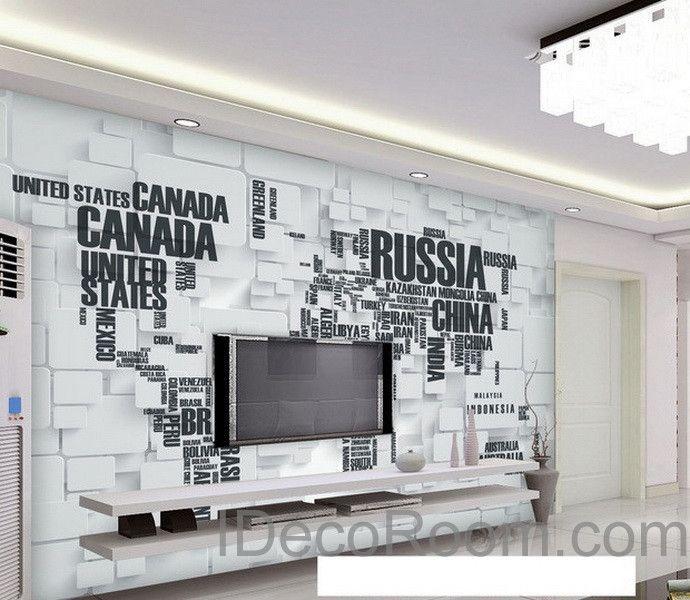 3D Abstract World Map Wallpaper Wall Decals Wall Art Print Wall Mural Home Decor Indoor Office Business Deco – Cat Slattery