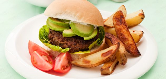 Juicy, plump, lean steak mince burgers topped with sliced avocado.