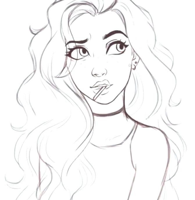Coloring Pages For Girls Cute In 2020 Girl Drawing Sketches Cartoon Girl Drawing Girl Drawing