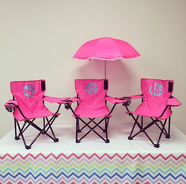 Monogrammed Kids Camp Chair. Monogrammed Chair available in 5 colors. Personalized Kids' Beach Chair with Umbrella. by TwoGuysMonogramming on Etsy https://www.etsy.com/listing/274664034/monogrammed-kids-camp-chair-monogrammed