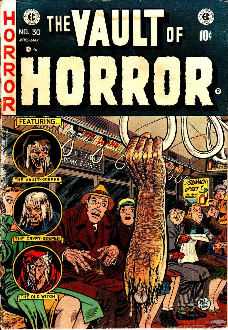 "Vault Of Horror #30 Cover (note all the passengers' reaction and the ad on the bus in the background ""Stomach Upset?"")- The story that the cover is from is ""Practical Choke"" which dealt with PreMed Students who use parts of cadavers for  practical jokes."