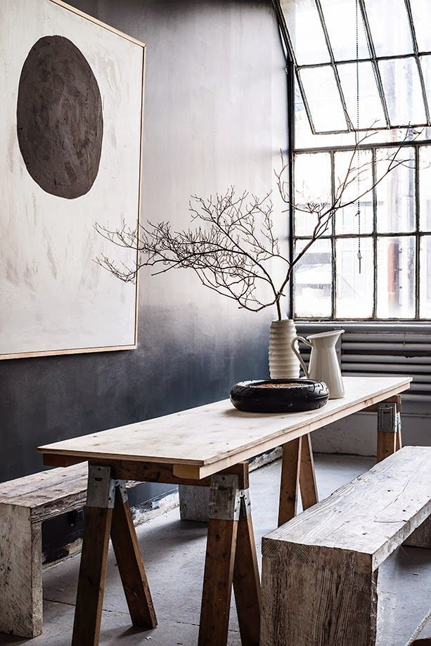 Urban Living Space with Natural Woods Zen Dining Furnish Industrial Windows Design. interior design