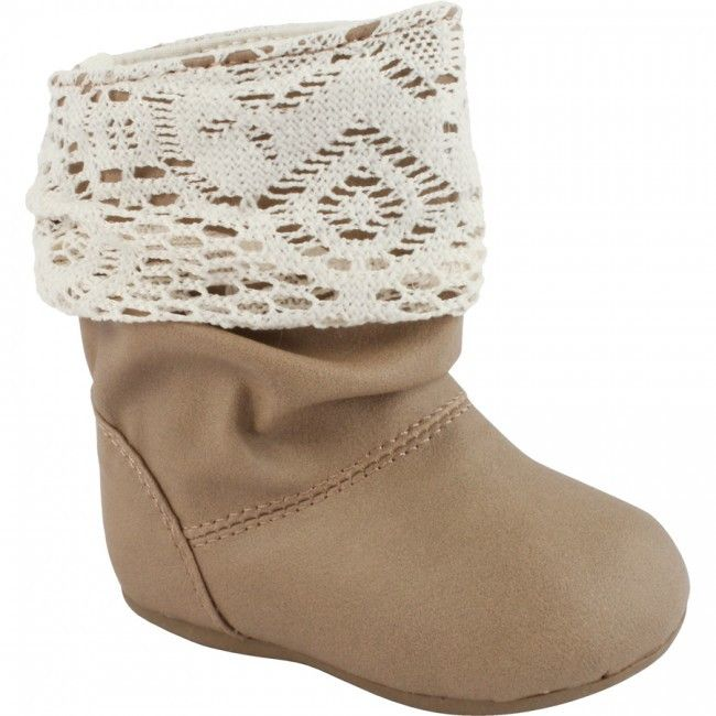 Toddler Girls Lace Top Brown Slouch Boots by Baby Deer, Sizes 6-10