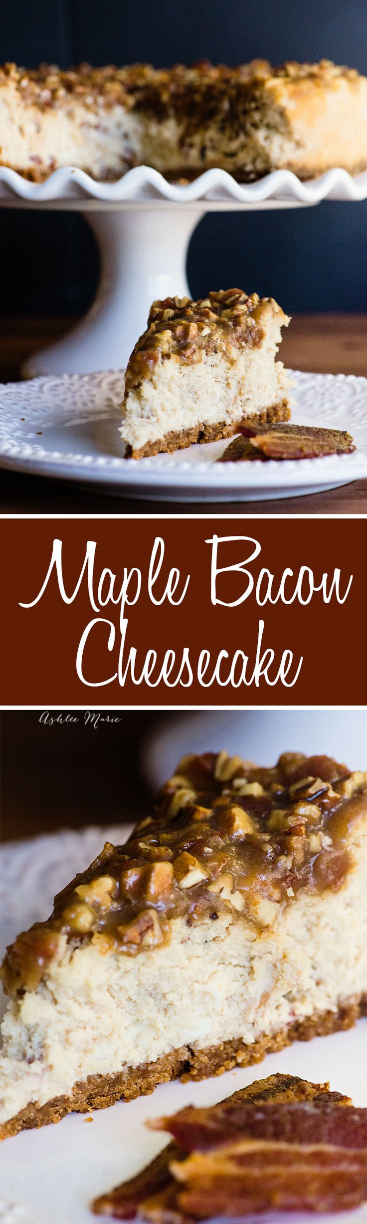 this maple bacon cheesecake recipe is delicious and easy to make - with tips and tricks for the perfect cheesecake and a video tutorial