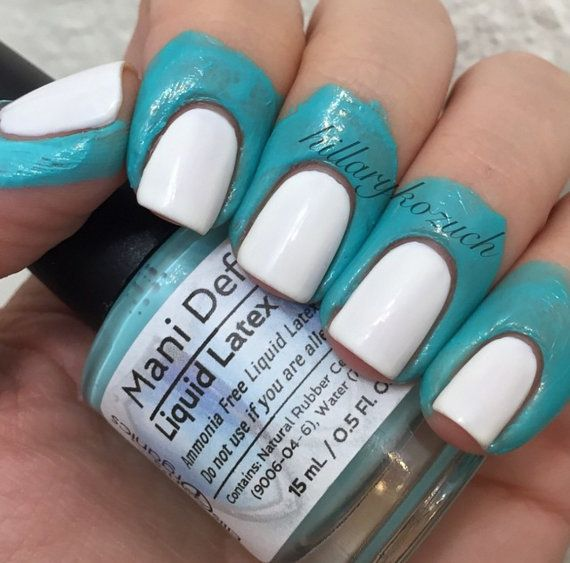Save your time and your skin with the vegan-friendly Mani Defender ® liquid latex! Simply paint the liquid latex, also known as nail tape, around your nails as you see in the pictures above and let dry (it dries fast!). Then apply your stamping, gradient, or nail art. The excess polish will easily peel off with the liquid latex when you are finished! Try this before you watermarble and save TONS off of your cleanup time. Ammonia free. Its like a drop cloth for your nails.  Do you avoid doing…