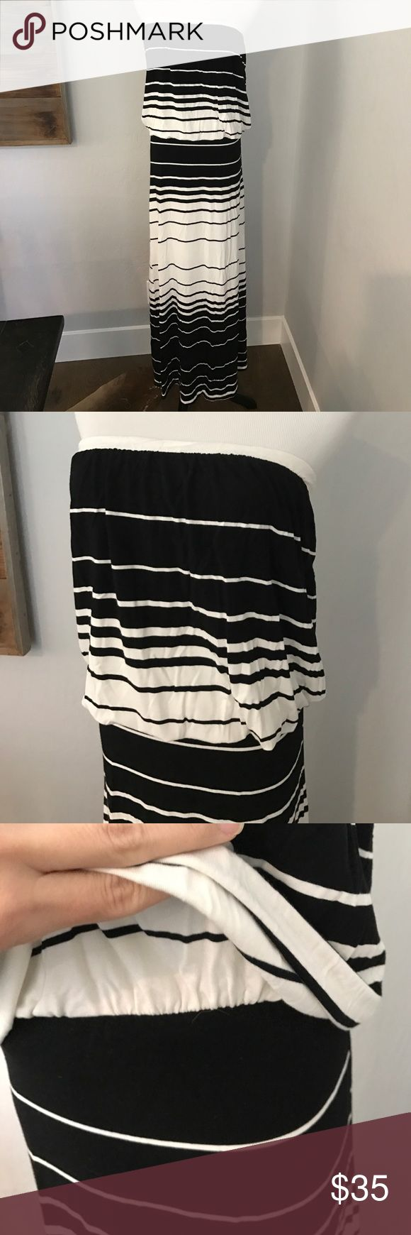 Black and white strip summer dress This is a small, black and white stripe summer maxi dress. Bought this from VICI. The middle is cinched and the top half is lined. Excellent condition. Dresses Maxi