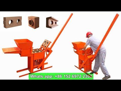 QMR2-40 manual clay interlocking brick machine for lego brick - YouTube