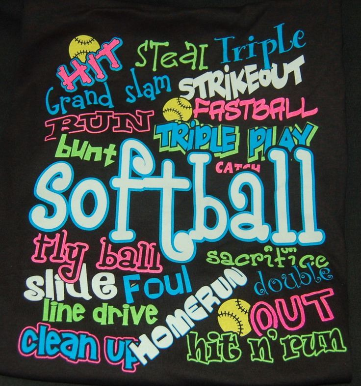 softball pictures | softball pictures | Softball Words Black T-hisrt | For kids