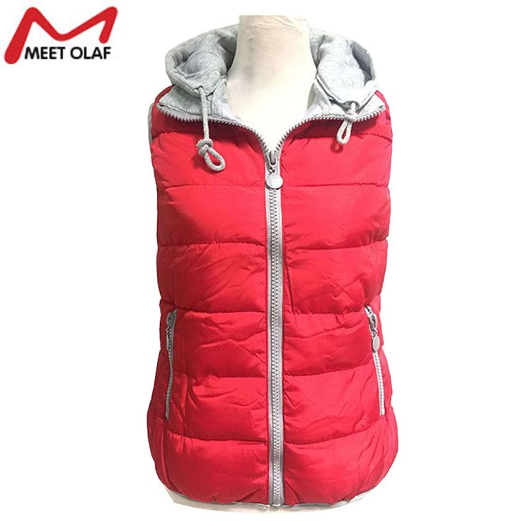 Winter Jacket Women Vest Hooded Down Cotton Warm Waistcoat Sleeveless Coat For Female YL164