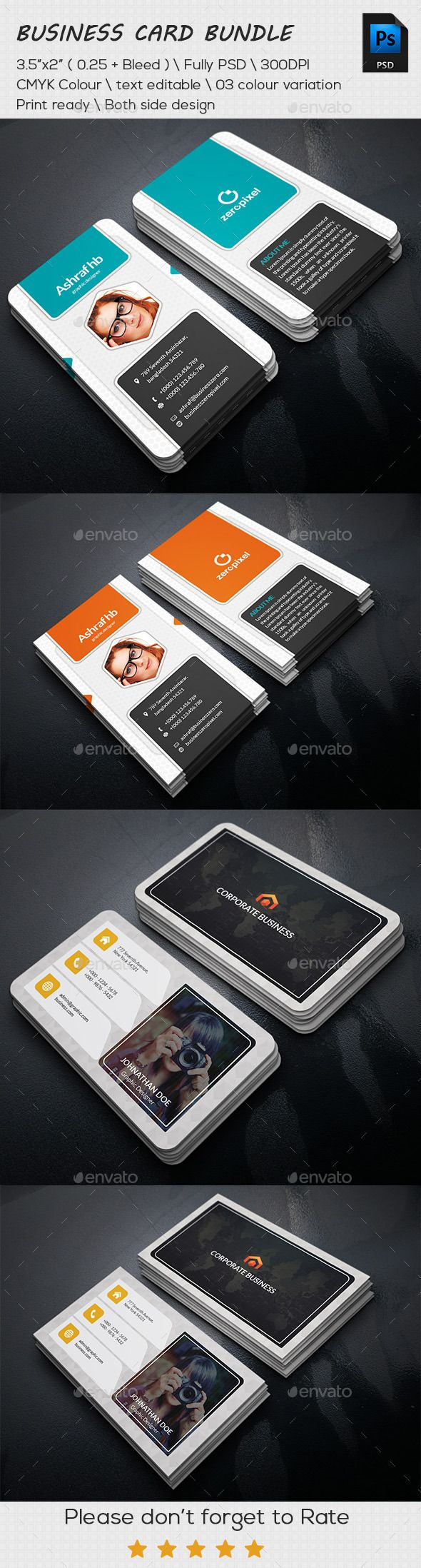 Personal Business Cards Bundle Template #design Download: http://graphicriver.net/item/personal-business-cards-bundle/11478835?ref=ksioks