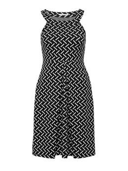 Lychee Fit and Flare Dress in Black & White