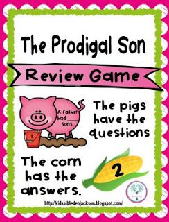 Prodigal Son lesson, posters, visuals, worksheet and a cute review game