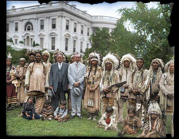 Colorized Historical Photo - President Calvin Coolidge with a group of Native Americans on the White House lawn