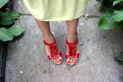 Red Bakers wedges for my Colombian Independence Day Outfit