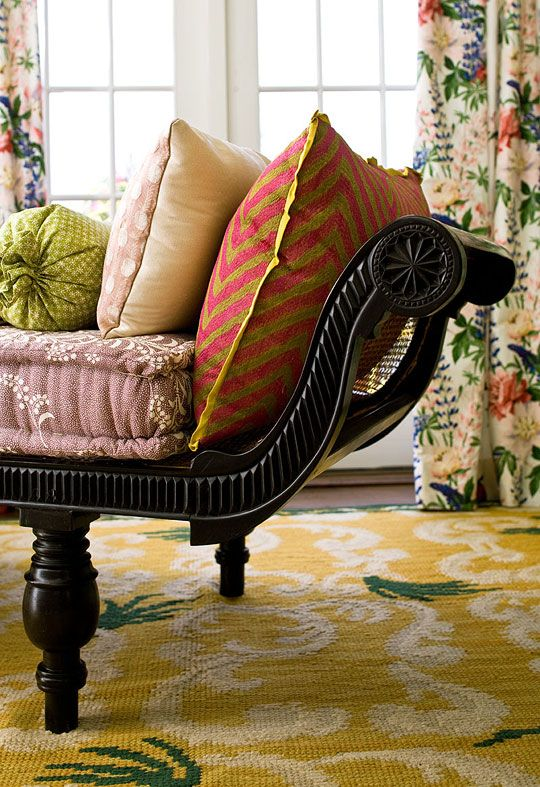 An Antique Spanish Needlepoint Rug Defines The Essentially Sunny Character Of This English Country Style Sitting Room