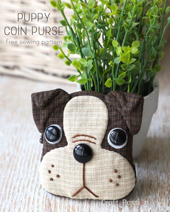Free sewing pattern to make cute Boston Terrier inspired Puppy Coin Purse with zipper closure. Template & detailed instructions includes step by step photos for easy understanding.