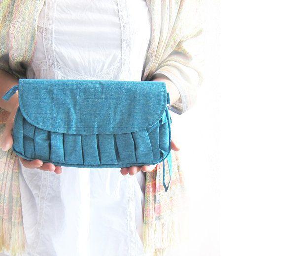 Pure Silk Clutch Bag  Tiffany Blue Pleated Clutch by MariesCorner, $67.00