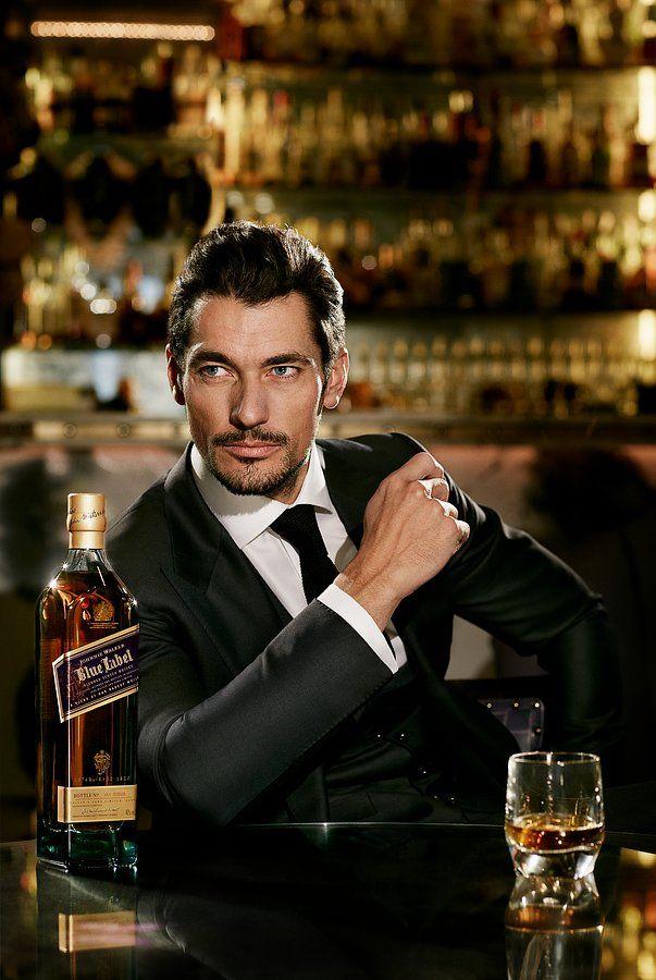 A dapper-looking David Gandy playing the modern gentleman in ads for Johnnie Walker Blue Label.