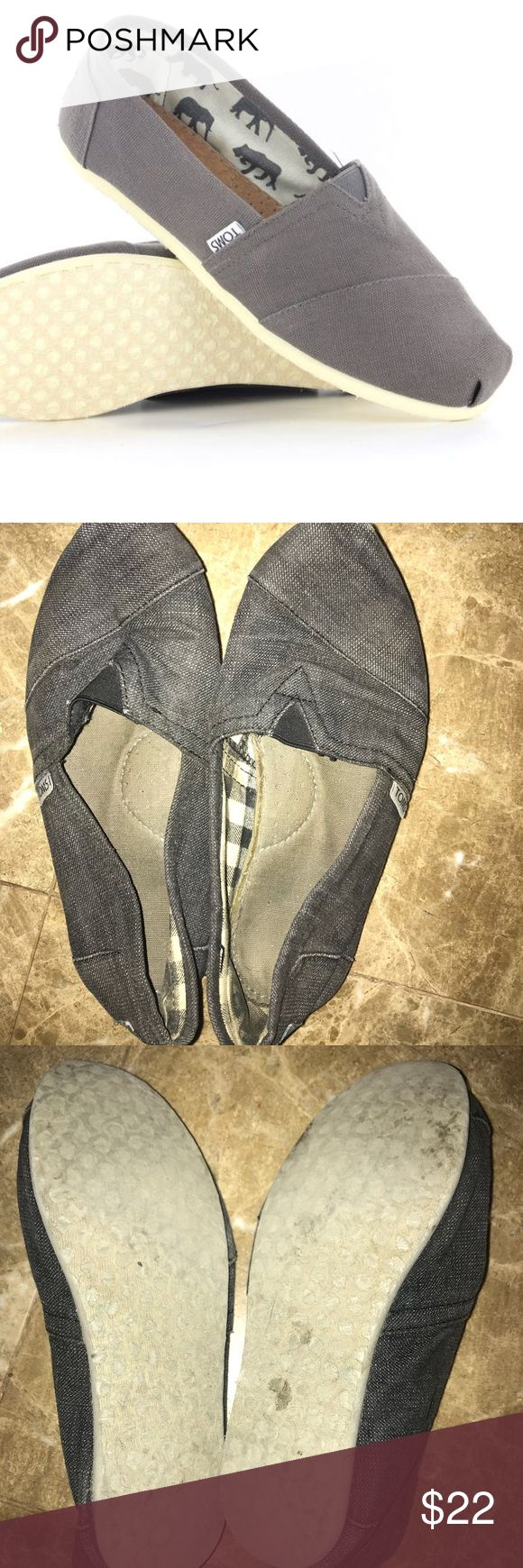 Gray Toms These toms are great for any outfit. I used to love them but I don't wear them anymore. They are a bit dirty since I did love them but they are easy to wash so they're still nice. Toms Shoes