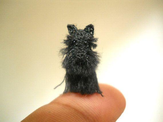 Miniature Black Schnauzer - Micro amigurumi Tiny Crochet Dog - Made To Order