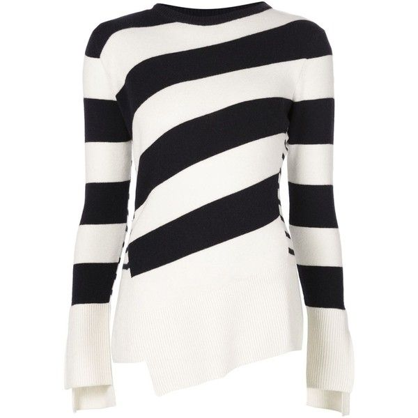 Alexander McQueen striped sweater found on Polyvore featuring tops, sweaters, alexander mcqueen, blue, white crew neck sweater, white wool sweater, crewneck sweater, blue striped sweater and blue sweater
