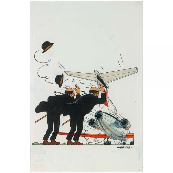 """Hergé – Dessin original signé, Pop-Hop – Un livre animé Tintin, L'Île Noire[...], mis en vente lors de la vente """"Hergé, en partenariat avec Moulinsart SA"""" à Piasa   Auction.fr"""