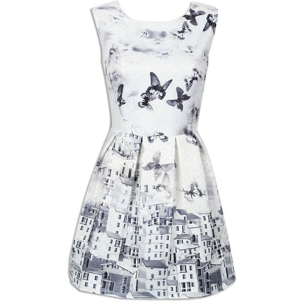 Choies White Butterfly Print Embroidery Sleeveless Ruched Dress ($17) ❤ liked on Polyvore featuring dresses, multi, white dress, white ruched dress, white day dress, moth dress and ruching dress