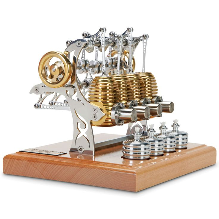The Four Cylinder Stirling Engine - Hammacher Schlemmer - This working four-cylinder Stirling engine putters up to an efficient 2,000 rpm, powered by the expansion and compression of air.
