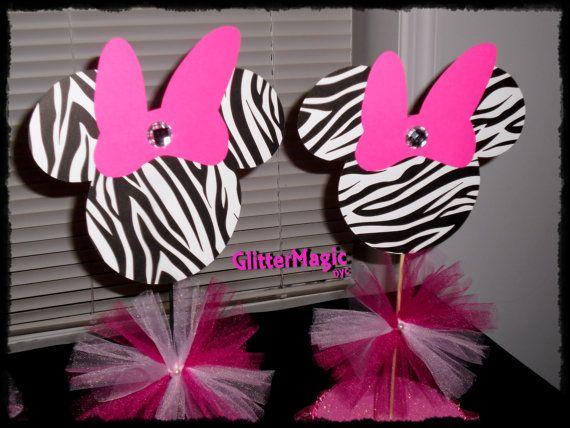 SET OF 2 - Minnie Mouse Zebra Centerpiece / Minnie Mouse Zebra ...