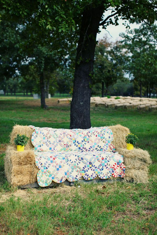 Quilted hay bale couches
