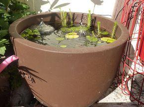 Il vous faut :  - un cache pot d'au moins 50 litres en plastique ou en résine (trufault)  - des plantes aquatiques (trufault) - des pot plastiques ajourés et de la toile de jute - de l'engrais spécial bassin  - une pompe solaire (ebay)