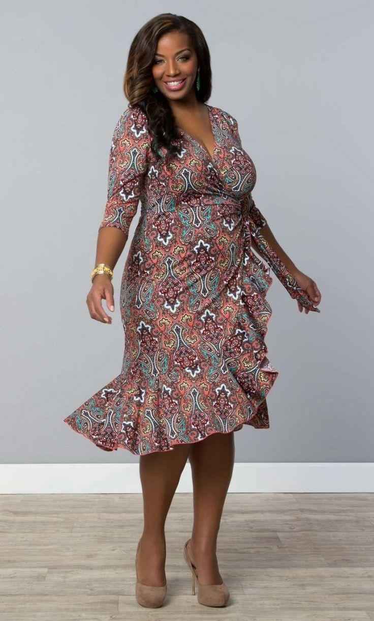 Plus Size Flirty Flounce Wrap Dress