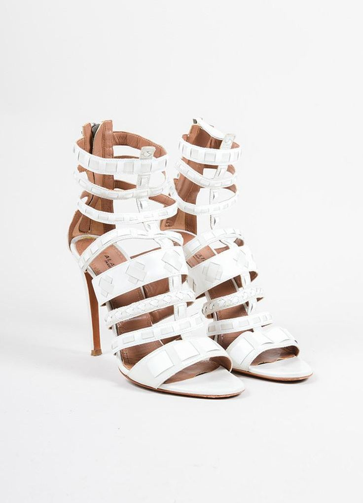 White Patent Leather Woven Cage Sandal Heels