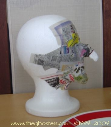 Make  your own witch head - styrofoam wig head and paper mache'