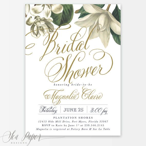 """Magnolia is the perfect invitation for a southern bridal shower! Features beautiful magnolias and pretty navy and white stripes. Pair with our kraft envelope with a liner for a complete look! ▬▬▬▬▬▬▬▬▬▬▬▬ INVITATION OVERVIEW ▬▬▬▬▬▬▬▬▬▬▬▬ • 5x7"""", front & back • Purchased professionally printed or digital file to print yourself • Customized with your text, can change any text as long as it's a similar amount as sample image • The stripe colors of this invitation can be changed • Back can b..."""