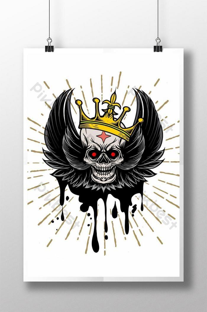 ناقلات صورة الجمجمة مع أجنحة و تاج خمر خلفية الوشم خمر عنصر التصميم خلفيات Ai تحميل مجاني Pikbest Halloween Poster Background Vintage Simple Cartoon