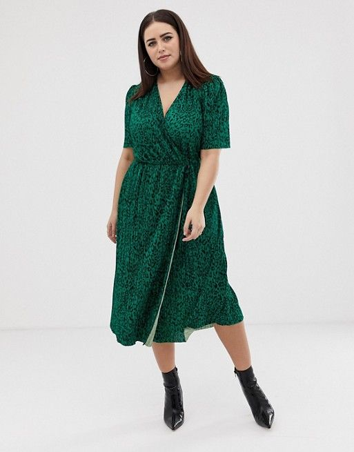 3d389bf20873b ASOS Curve | ASOS DESIGN Curve midi plisse dress in green animal print with  button detail