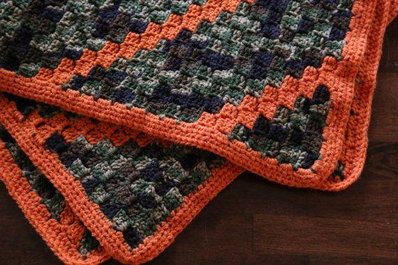 Camo and orange crocheted baby blanket Crocheted baby ...
