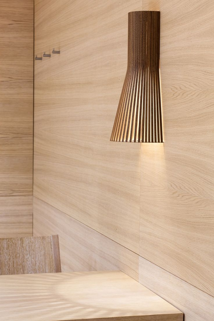 Our walnut veneer Secto 4231 wall lights at Sorger Brot. Graz, Austria. Photo by Markus Kaiser.