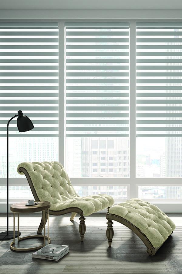 Levolor Custom Banded Shades In Bliss Smoke Living Room Shades
