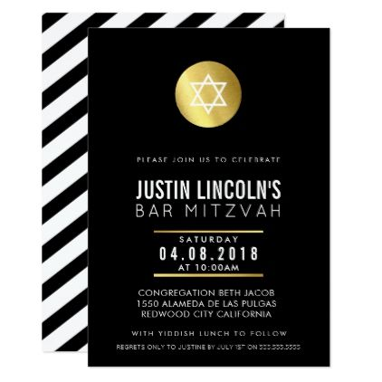 #MODERN BAR MITZVAH party INVITE gold spot black - #birthdayinvitation #birthday #party #invitation #cool #parties #invitations